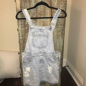 Distressed jean overalls (skirt)